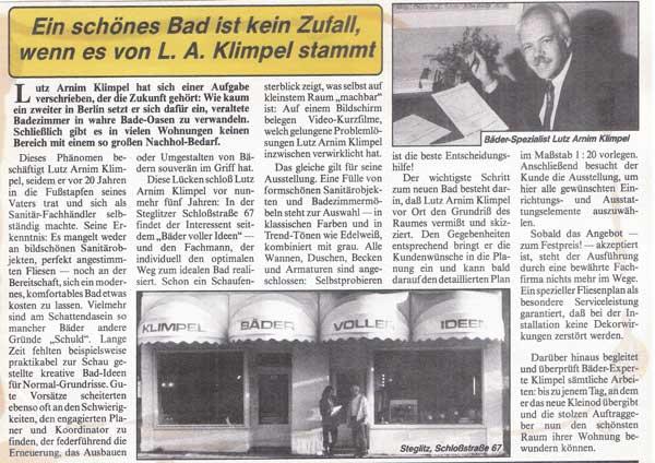 Zeitungsartikel von 1983